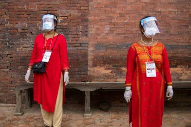 Plastic face shields do masks one higher